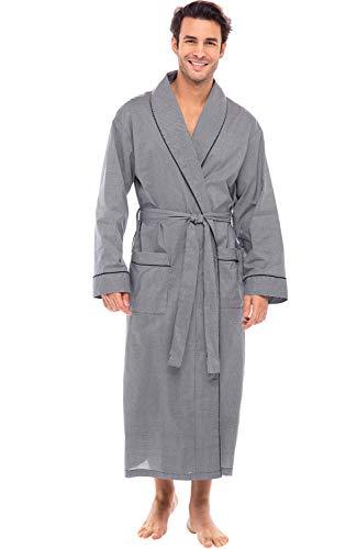 Alexander Del Rossa Mens Lightweight Cotton Robe, Medium Black Houndstooth Check (A0715R60MD)
