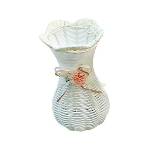 Qinlee Vase Rattan Stil Blumenkorb Aromatherapie Flasche Trockenblumen Blumenarrangement DIY Landschafts Vase Dekor für Home Garten Büro