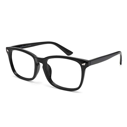 Cyxus Reading Glasses Blue Light Eyeglasses, Vintage Square Frame Clear Lens Magnification Readers for Men Women