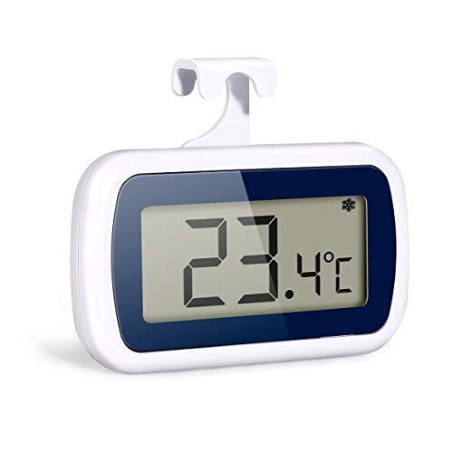 Zwini - Termómetro de nevera con control de luz para refrigerador y congelador (impermeable, con pantalla LCD digital y gancho)