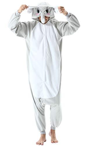 Pijama Animal Entero Unisex para Adultos con Capucha Cosplay Pyjamas Ropa de Dormir Kigurumi Traje de Disfraz para Festival de Carnaval Halloween Navidad Gris Elefante