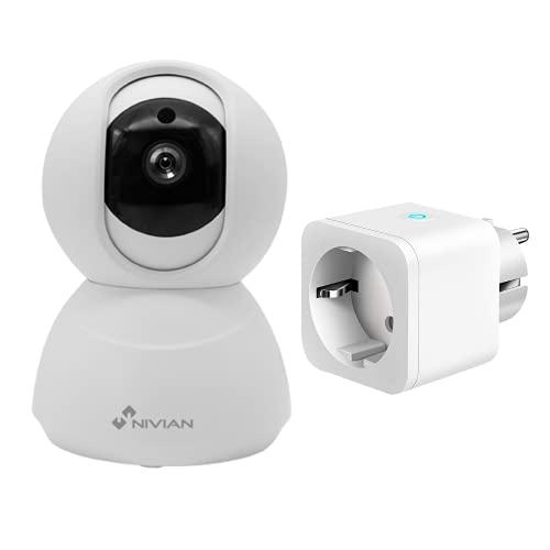 Nivian cámara Domo 360º WiFi 2.4Ghz-FullHD 1080P + Enchufe Inteligente- Compatible con Amazon Alexa y Google Home–Control Remoto con App Tuya