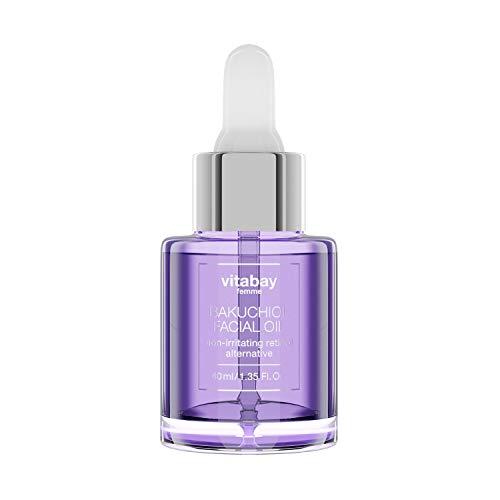 Aceite facial Bakuchiol: aceite seco para el cuidado del rostro - antienvejecimiento, hidratante, regenerador gracias al Bakuchiol (alternativa al retinol), escualeno y aceites vegetales, 40 ml