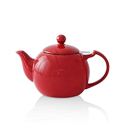 KOOV Ceramic Tea Pot with Stainless Steel Infuser, 40 ounce Large Enough For 6 Cups, High Tea Series (Red)
