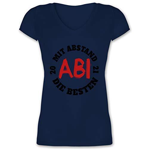 Abi & Abschluss - Abi - Mit Abstand die Besten 2021 - schwarz/rot - XS - Dunkelblau - abi 2020 Geschenke mit Abstand die besten - XO1525 - Damen T-Shirt mit V-Ausschnitt