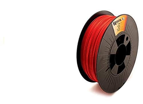 BASICFIL PLA 1.75mm, 1 kg filamento de impresión 3D, Rojo