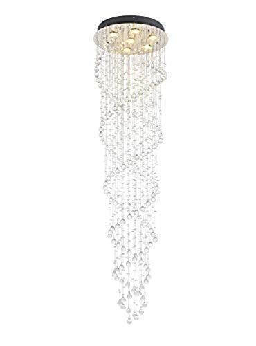 Restaurant Moderne LED Doppelspirale Klar Juwel Kristallglas Tröpfchen 7 Licht Deckenleuchte Pendelleuchte Kronleuchter Beleuchtung für Wohnzimmer D50cm H186cm Klar TT-1025-229 ZP-229