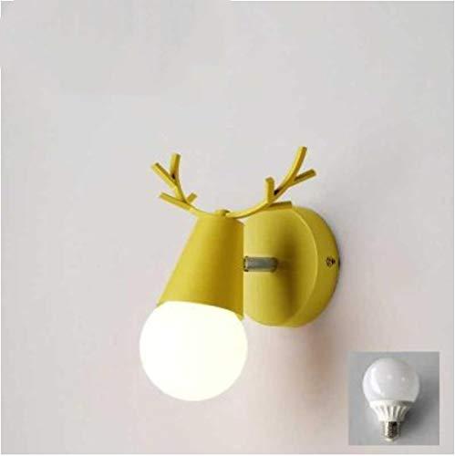 Lampada da parete a led Corna di cervo Lettura camera da letto Applique da parete Applique da parete per bambini Illuminazione Applique 16 * 16Cm Giallo