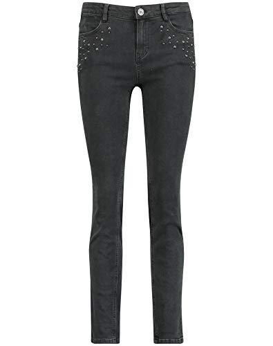 Taifun Damen Jeans mit Nieten Skinny Black Denim 44