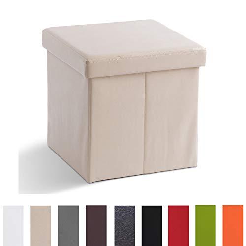 Zedelmaier Sitzhocker Sitzwürfel mit Stauraum Fußbank Truhen Aufbewahrungsbox faltbar belastbar bis 300 kg, Deckel abnehmbar, 38 x 38 x 38 cm (Beige)