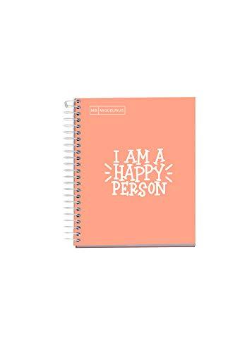MIQUELRIUS - Quaderno Notebook Messages - 1 striscia colorata, A5, 100 fogli a quadretti da 5 mm, carta 90 g, 2 fori, copertina in cartone extra duro, colore pesca