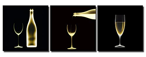 Huis en decoratie muurschildering set van 3 wijnchampagne glas fles silhouet fotodruk afbeeldingen op houtvezelplaat eenvoudige montage modern 3 mal 50x50 cm