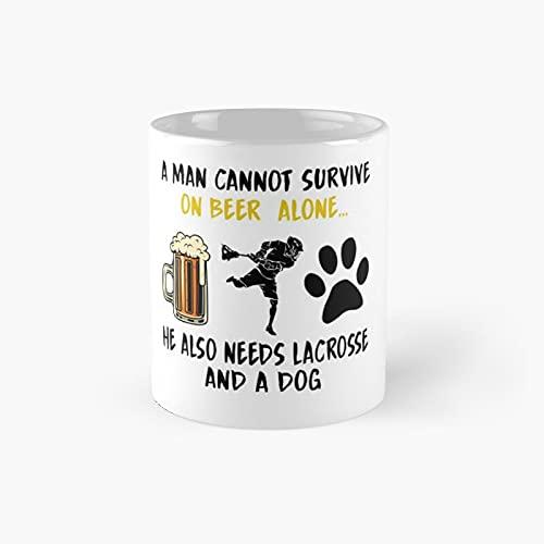 A Man Cannot Survive - Taza clásica lacrosse mejor regalo divertidas tazas de café 11 oz