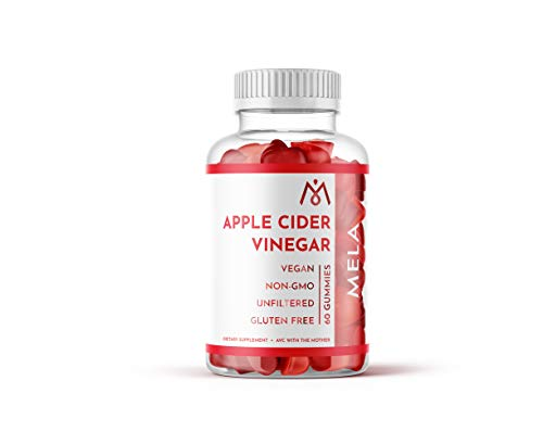 Mela Apple Cider Vinegar Gummies with the Mother - Unfiltered, Gluten-Free, Vegan - Helps with Boy Detox, Cleanse, Body Fat and Bloating Relief for Women, Men, and Kids - 1 Month Supply
