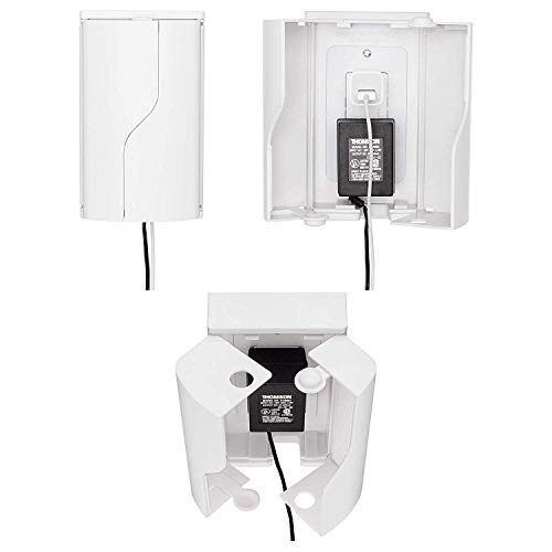 Safety Innovations Twin Door Baby Safety Outlet Cover Box for Babyproofing Outlets - More Interior Space for Extra Large Electrical Plugs and Adapters - Easy to Install - Easy to Use, (2-Pack)