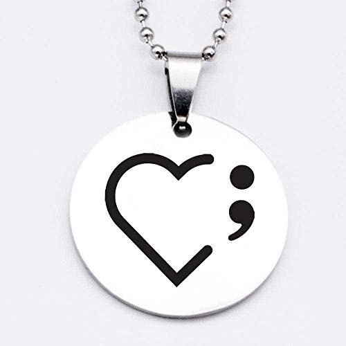 huangxuanchen co.,ltd Necklace Women Stainless Steel Heart Semicolon Charm Necklace Gift for Girlfriend Accept Drop Shipping