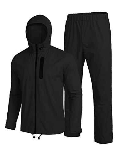 COOFANDY Mens Waterproof Rain Suit With Hood 2 Pieces Lightweight Fishing Camping Rain Jacket (X-Large, 01-Black)