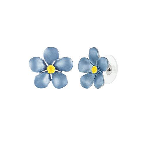 Eternal Collection Forget-Me-Not Blue Enamel Silver Tone Flower Stud Pierced Earrings Blue 1.5