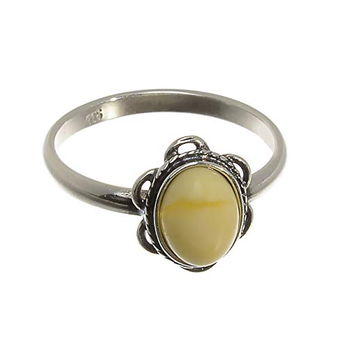 Sterling Silver and Baltic Butterscotch Amber Ring 'Brittany' size: 6.5