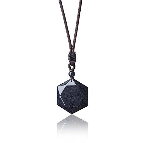 COAI® Collar Ajustable Curación de Piedra con Colgante Amuleto Estrella de David Hexagrama
