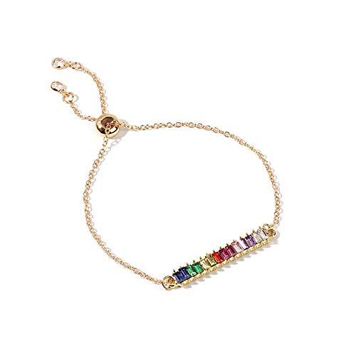 Candian Pulsera temperamento cristal Europa y América del arco iris Rhinestone zirconia ajustable pulsera collar conjunto niña color diamante joyería