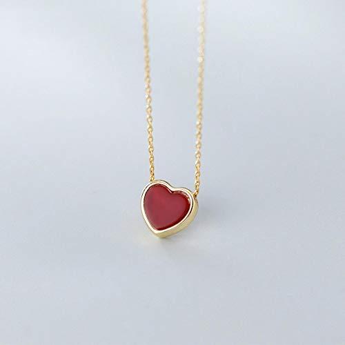 qwertyuio Collares para Mujer Plata De Ley 925, Collar con Colgante De Corazones Rojos Encantadores para Mujer, Collar De Color Dorado, Accesorios Finos, Regalo
