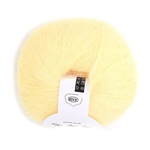 26g / Roll Soft Angora Mohair Hilado Hilado Largo de Lana con un Ganchillo para Prendas de Vestir Bufandas Suéter Chal Sombreros y proyectos de artesanía(Amarillo Claro)