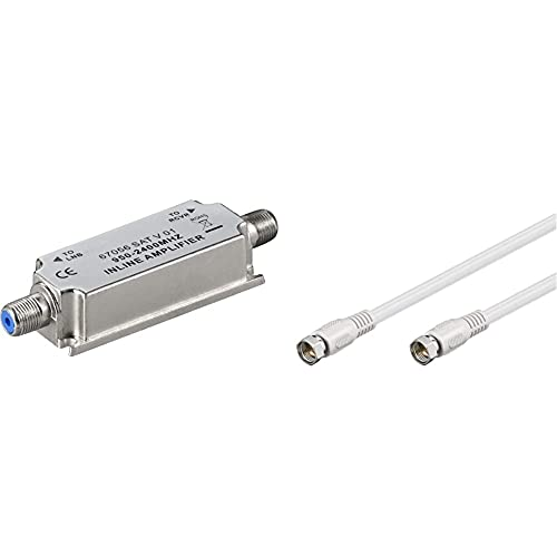 Wentronic 67056 Amplificador de senal para Equipos por satelite (Acero Inoxidable) + Goobay BKF Cable Conector de satelite (Conector F Macho a Conector F Macho, 0.5 m), Blanco