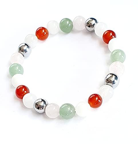 Bracelet grossesse, Pierre de lune, cornaline rouge, aventurine,