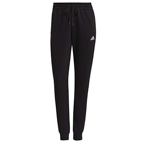 adidas Essentials Slim Tapered Cuffed, Pantaloni della Tuta Donna, Nero Bianco, L