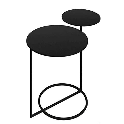 Vidal Regalos Mesa Auxiliar Madera y Metal 2 Niveles Negra 55 cm