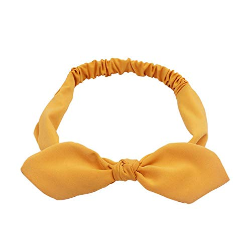 LinZX Plain Polyester-Kaninchen-Ohr-Stirnband für Frauen Frau Qualitäts-elastische Bogen Hairband Kopfbedeckung Haarschmuck,Yellow