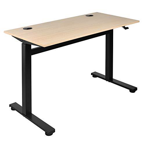 Ribelli Höhenverstellbarer Schreibtisch, schwarzes Gestell, auch für eigene Platten verwendbar – manuell, ohne Strom – inkl. Tischplatte, helbraun - Höhenverstellbar von 72,5 bis 109,5cm