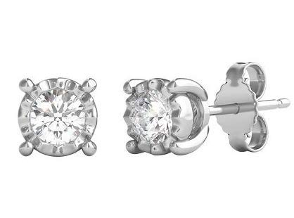 Helzberg Diamonds 10K White Gold 1/2 cttw Round Brilliant-Cut Diamond (I-J Color, I3 Clarity) Illusion Stud Earrings