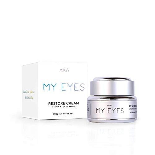 AKA Cosmetic MY EYE RESTORE CREAM VITAMIN K • DCX • ARNICA Eye Cream Anti Aging Restore Under Serum Firming Best Wrinkle Reduce Puffiness for Men Dark Circles Wrinkles Medium with Peptides Around Eyes