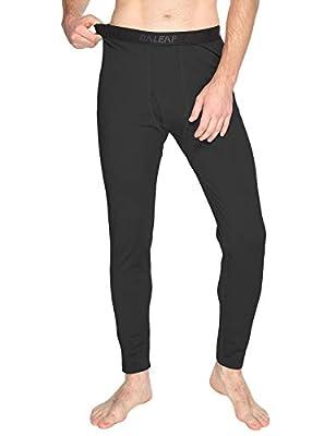 BALEAF Men's Heavyweight Thermal Underwear Pants Fleece Lined Long Johns Baselayer Bottom Black XXL