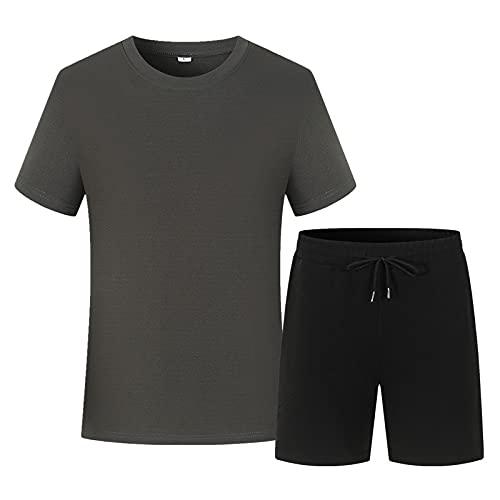Camiseta de Manga Corta Informal de Verano para Hombre, Camisas de Cuello Redondo, Camiseta Delgada de Manga Corta, Pantalones Cortos de Trabajo para Hombre, Pantalones Cortos de chándal Gris + Negro