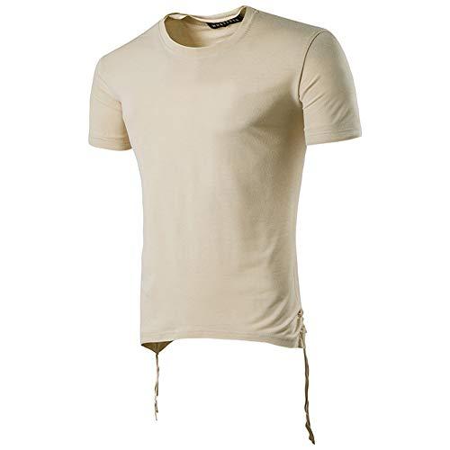 Wařm T Shirt Kurzarm Männer Tops Rundhals Hip-Hop-Persönlichkeit Kurzarm T-Shirt Männer Casual Sommer T-Shirt Khaki M
