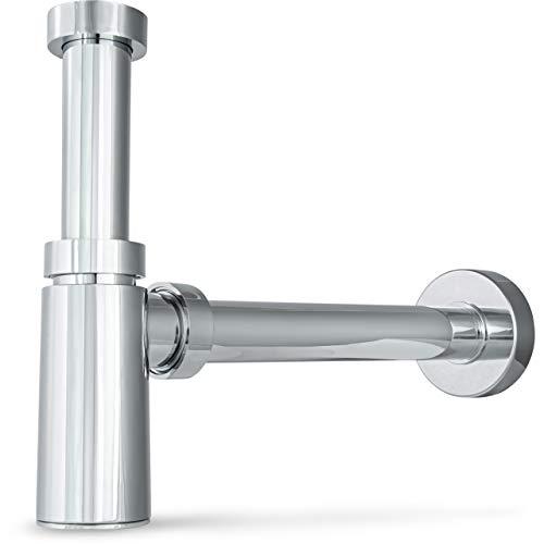 """Siphonly® Design Siphon Waschbecken   Mit Reinigungsöffnung   Flaschensiphon 5/4""""- 32 mm   Premium Ablaufgarnitur 1 1/4""""   Flaschensifon mit Geruchsverschluss aus ABS-Kunststoff verchromt"""