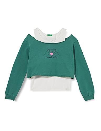 United Colors of Benetton Maglia G/C M/L 3J68C15DA Felpa con Cappuccio, Verde 1N0, L Bambina