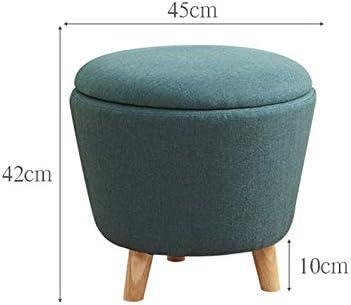 Qomili Tabouret de Rangement Salon Tabouret de Pied Boîte de Rangement Chaise de futon Rond en Coton et Lin Multi-Fonctions avec Banquette Amovible (Color : Red) Yellow