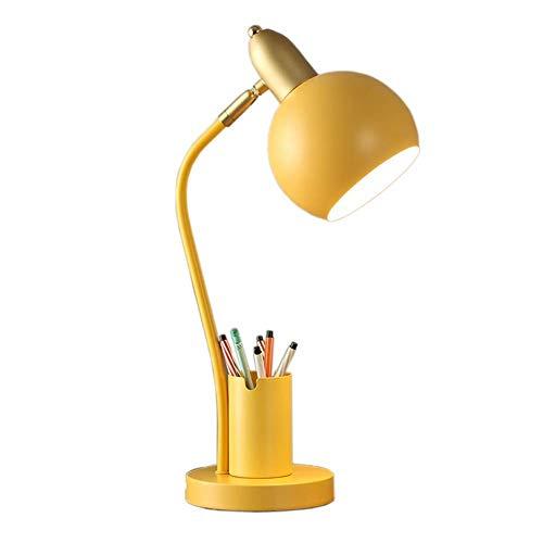 HCFSUK Lámpara de Mesa de Hierro, lámpara de cabecera LED enchufable, lámpara de protección Ocular multifunción, Interruptor de botón pulsador de luz Blanca de 9 W