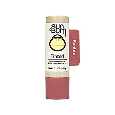 Sun Bum Tinted Lip Balm Bon Fire | SPF 15 | UVA / UVB Broad Spectrum Protection | Sensitive Skin Safe | Hypoallergenic, Paraben Free | Ozybenzone Free | 0.15 Oz
