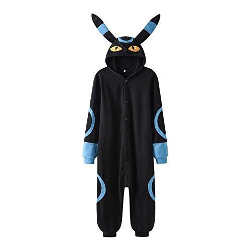7MR Pijama Adulto Unisex Black Blue Dibujos Animados Anime Vestido Neutro Femenino Pareja En General Invierno Lindo Lindo Pijamas Set (Color : Blue Umbreon, Size : Small)