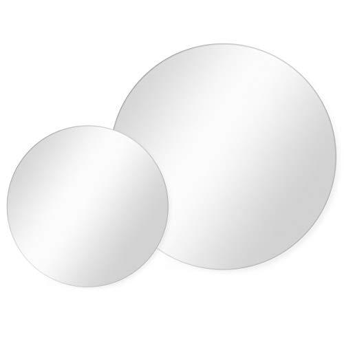 PHOTOLINI 2er Set Spiegel Rund 50 cm + 70 cm Durchmesser Deko-Wandspiegel/Runde Spiegel/Rundspiegel