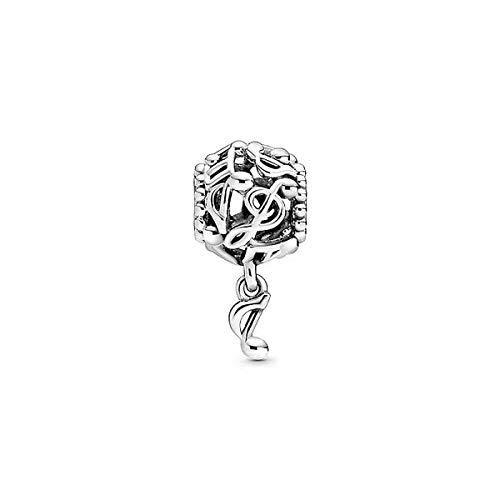 LILANG Pulsera de joyería Pandora 925, abalorio de Cuentas de Plata esterlina Natural, Encanto de Notas Musicales caladas, Brazalete Apto para Mujer, Regalo DIY
