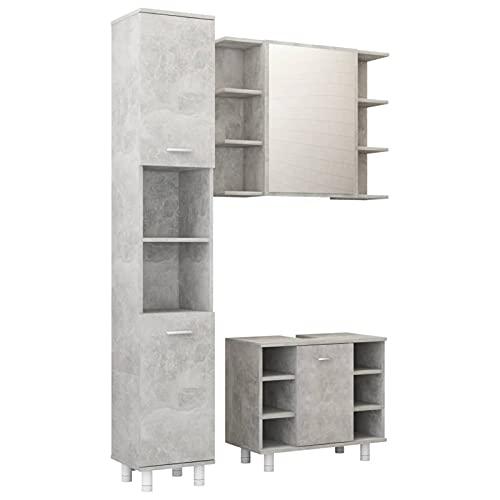 Gawany Juego de Baño Conjunto de Muebles de Baño 3 Piezas con 1 Armario Alto,1 Lavabo y 1 Espejo Aglomerado Gris Hormigón 80 x 20,5 x 64 cm