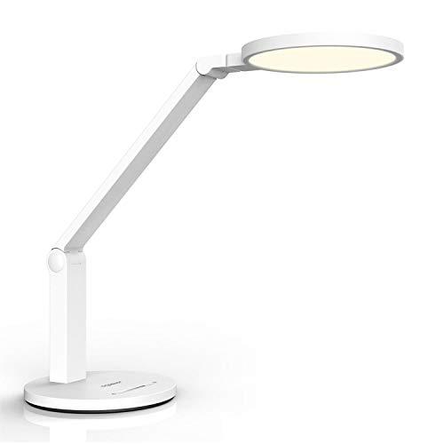 Aigostar - Lámpara de escritorio LED con protección ocular, Ra≥95, 15W, luz natural 4000K, 800lm. Flexo LED con brazo flexible, brillo ajustable, control táctil, nivel luz azul RG0. Color blanco