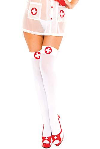 Music Legs Krankenschwester-Look weißes Kreuz schenkellang weiss rot