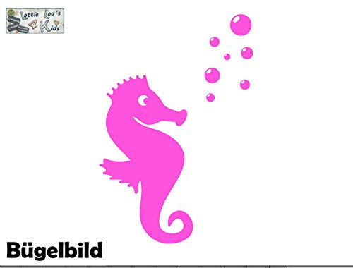 Bügelbild Aufbügler mit Seepferdchen Seehorse in Flex, Glitzer, Flock, Effekt in Wunschgröße